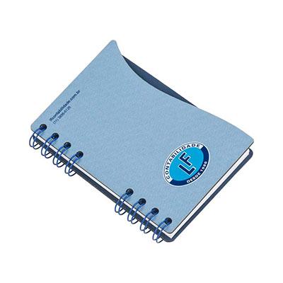 Bloco de anotação. capa de cartão revestido em Papéis Especiais, embalagem em caixa de cartão branco, recorte lateral