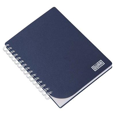 Caderno Capa em cartão revestido com Papéis Especiais, embalagem em caixa de cartão branco, recorte lateral