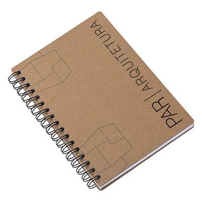 Caderno com capa em cartão revestido com Papéis Especiais, embalagem em caixa de cartão branco