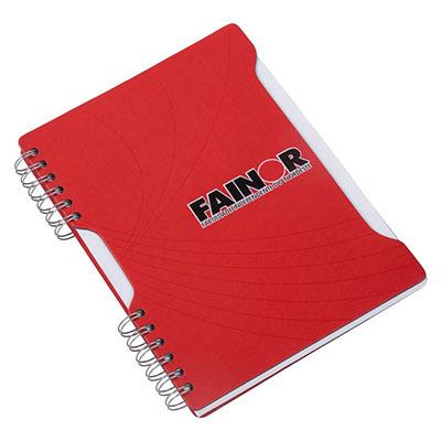 Caderno Capa cartão revestido com Papéis Especiais, recorte lateral, embalagem em caixa de cartão branco
