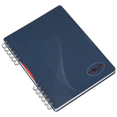 Caderno Capa em cartão revestido com Papéis Especiais, logotipo vazado a laser, recorte lateral, embalagem em caixa de cartão branco