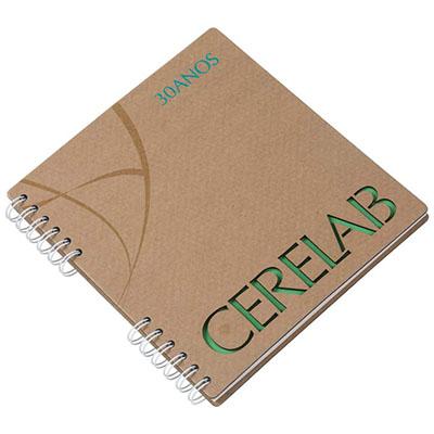 Caderno com capa em cartão, revestido com Papéis Especiais, logotipo vazado a laser, embalagem em caixa de cartão branco