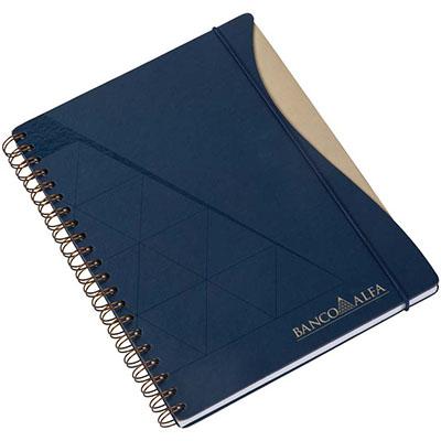Caderno Capas em cartão revestido com Papéis Especiais, recorte lateral, embalagem em caixa de cartão branco. Elástico opcional