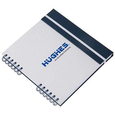 Caderno Capa em cartão com aba, fechamento elástico, embalagem em caixa de cartão branco