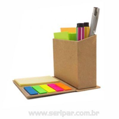 Seripar - Brindes Inovadores - Porta-canetas com bloco ecológico.