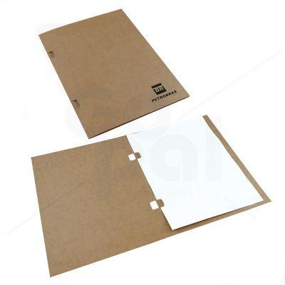 gopal-arte-em-papel - Pasta em cartão Kraft com aba para fixação por grampos