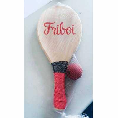 - Kit frescobol em pinus contendo duas raquetes e uma bolinha.