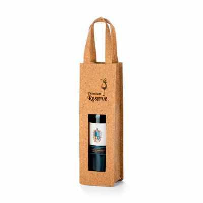 nexo-brindes - Sacola Para Garrafa de Vinho Ecológica Personalizada  Sacola para 1 garrafa. Cortiça.  100 x 330 x 100 mm  SUA MARCA APLICADA EM: Serigrafia