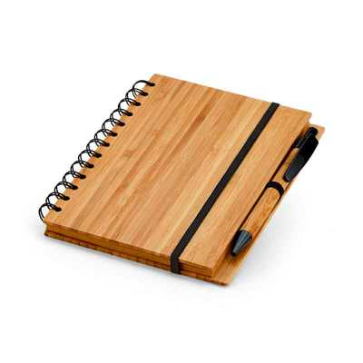 nexo-brindes - Caderno. Bambu. Com 70 folhas pautadas de papel reciclado. Incluso esferográfica de bambu. 135 x 180 mm  SUA MARCA APLICADA EM: SERIGRAFIA