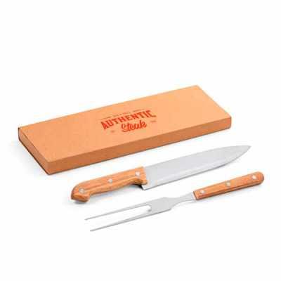 nexo-brindes - Kit churrasco. Aço inox e bambu. 2 peças em caixa kraft. Food grade.  Caixa: 340 x 115 x 25 mm