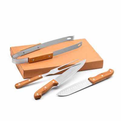 ecco-brindes - Kit churrasco. Aço inox e bambu.  4 peças em caixa kraft. Food grade.  Caixa: 365 x 200 x 55 mm