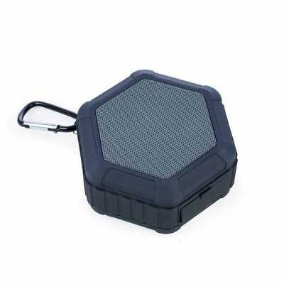 nexo-brindes - Descrição: Caixinha de som multifunções impermeável. Material plástico, possui tela de proteção do falante na cor cinza, pode ser submerso na água dev...
