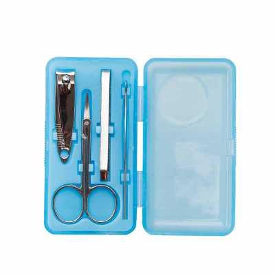nexo-brindes - Descrição: Kit manicure 4 peças em estojo plástico. Possui: cortador de unha, tesoura, pinça e empurrador de cutícula. Estojo fosco com detalhe circul...