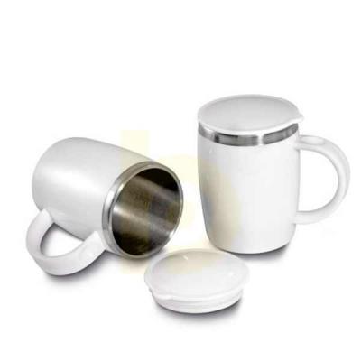 Caneca Térmica Inox e PP  Caneca plástico com inox na parte interna de 400ml. plástico utilizado PP (Polipropileno).      Dimensão Produto: 12,5xø9,0c... - Nexo Brindes