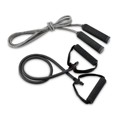 Kit ginástica inclui elástico e corda de pular