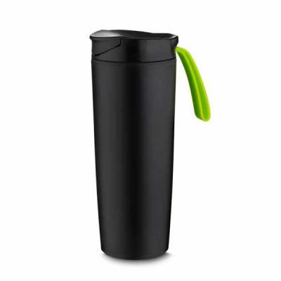 Copo Anti Queda  Copo plástico anti queda 400ml de pintura preto fosco com alça emborrachada colorida. Tampa rosqueável com abertura de bocal, parte i... - Nexo Brindes