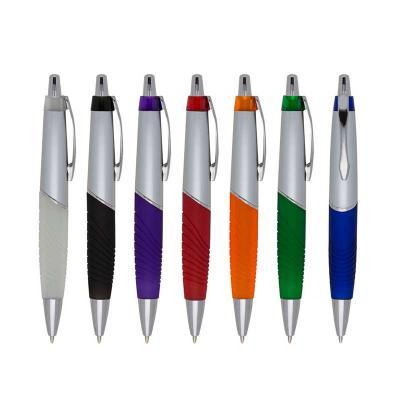 mdm-brindes - Caneta Plástica prata com detalhes coloridos. Disponível em diversas cores. Gravação Silk ou Tampografia.