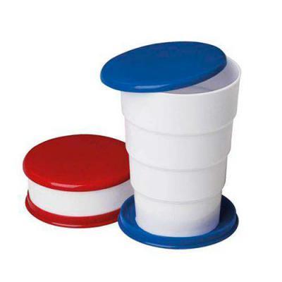 """Copo retrátil 130ml de plástico com tampa. Basta puxar para cima para """"armar"""" o copo, pode ser inteiramente desmontado.  Tamanho total aproximado  (Cx... - MDM Brindes"""