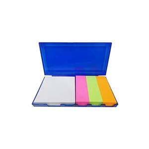 MDM Brindes Promocionais e Personalizados - Bloco de anotações com sticky-notes, disponível nas cores azul, vermelho e preto
