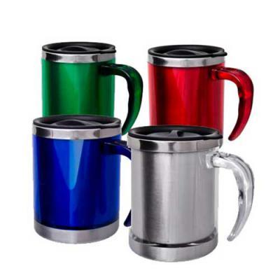 - Caneca de acrílico 400 ml com detalhes em aço inoxidável. Disponível em diversas cores. Gravação em Silk