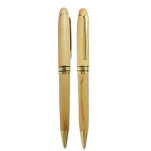 mdm-brindes - Caneta de madeira clara com detalhes dourados