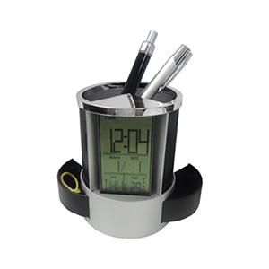 Relógio com porta-clips e canetas em plástico resistente detalhe em metal na cor preto - MDM Brindes