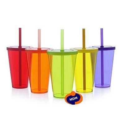 mdm-brindes - Copo refresh acrílico 550 ml tampa e canudo
