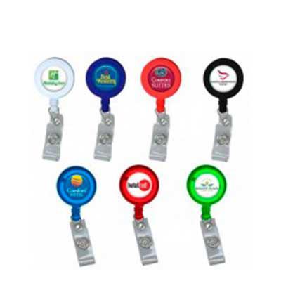MDM Brindes - Roller Clip Porta Crachá em acrílico disponível e diversas cores entre sólidas e translúcidas. Personalização em etiqueta resinada.