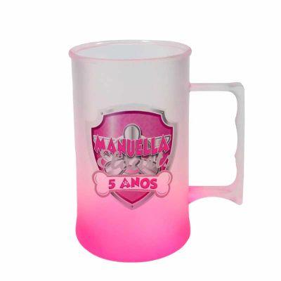 sertha-brindes - Caneca Plástica 450ml Jateada Rosa Neon com Gravação em Transfer