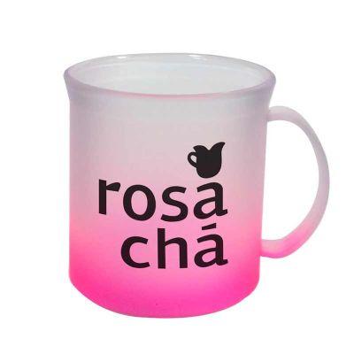 Sertha Brindes - Caneca Plástica 400ml Jateada Rosa Neon com Gravação em Silk
