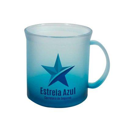 Caneca Plástica 400ml Jateada Azul com Gravação em Transfer