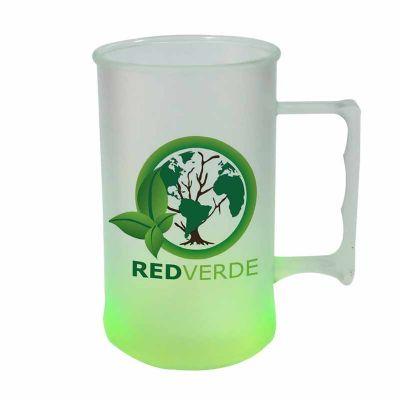 Caneca Plástica 450ml Jateada Verde Neon com Gravação em Transfer