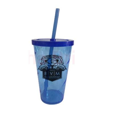 sertha-brindes - Copo Espiral 550ml Azul - Gravação em Silk