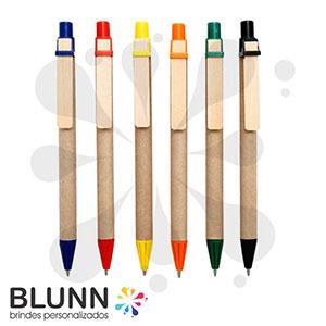 Blunn - Caneta 100% recicl�vel, clip de madeira reflorestada e ponteira em pl�stico