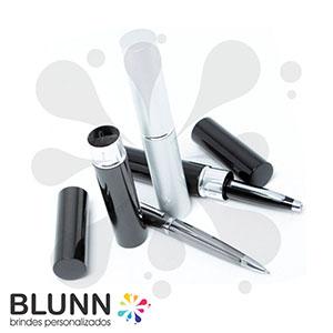 blunn - Caneta de metal esferográfica com estojo tipo tubo. Disponível nas cores prata, preto e cinza