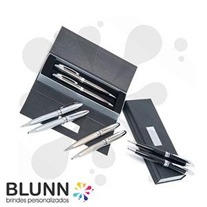 Blunn - Conjunto de caneta e lapiseira em metal, com estojo de papelão resistente