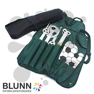 blunn - Kit Churrasco com 6 peças e acompanha case, disponível na cor verde e preto