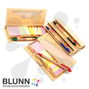 blunn - Bloquinhos de anotações ecológico com régua plástica de 12 cm, sticky-notes coloridos e caneta reciclável
