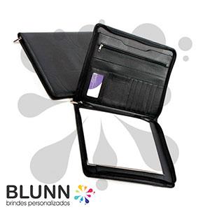 blunn - Pasta convenção, material em couro sintético. Bloco com 20 folhas