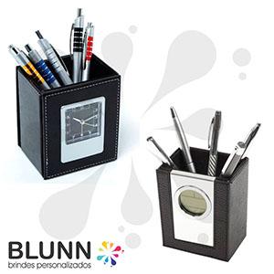 blunn - Relógio digital com porta-caneta de couro sintético