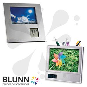 blunn - Porta-retrato com relógio e calendário, material de plástico