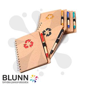 blunn - Bloco de anotações ecológico personalizado e acompanha caneta ecológica