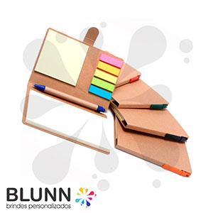 blunn - Bloco de anotações ecológico com sticky-notes, acompanha caneta ecológica