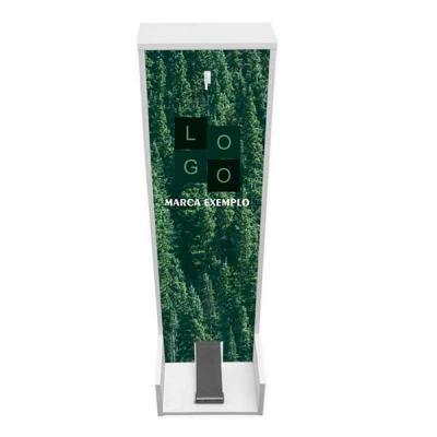Lindo totem dispenser para álcool em gel produzido na cor branca. Fabricado em MDF de 15mm, o tot...