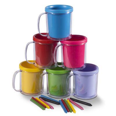 Naxos - Caneca para colorir, 6 giz de cera, duas partes, serve para colocar colorir e servir uma bebida. 8 cores dispon�veis