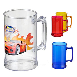 Caneca de Chopp 500 / 300 ml, plástico translucido, disponível em varias cores - NTS Brindes