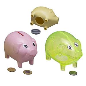 Cofrinho modelo porquinho com tampa - plástico injetado, diversas cores - NTS Brindes