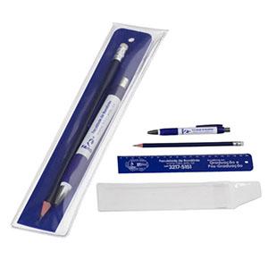 nts-brindes - Kit Escolar com Régua de 20 cm com furo, Caneta, Lápis com borracha,  Envelope PVC cristal transparente