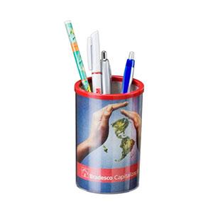 nts-brindes - Porta-lápis redondo - corpo duplo, plástico transparente, impressão em 4 cores papel especial