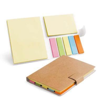 Bloco de Anotações com Sticky notes - Caderno. Cartão. 7 blocos adesivados: 25 folhas cada. 80 x ...